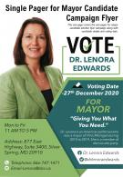 Single Pager For Mayor Candidate Campaign Flyer Presentation Report Infographic PPT PDF Document