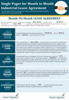 Single Pager For Month To Month Industrial Lease Agreement Presentation Report Infographic PPT PDF Document