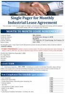 Single Pager For Monthly Industrial Lease Agreement Presentation Report Infographic PPT PDF Document