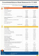 Single Pager For Organization Balance Sheet Statement For FY 2020 Template 328 Infographic Ppt Pdf Document