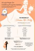 Single Pager For Wedding Program Details Presentation Report Infographic PPT PDF Document