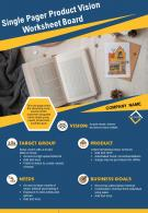 Single Pager Product Vision Worksheet Board Presentation Report Infographic PPT PDF Document