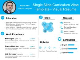 Single Slide Curriculum Vitae Template Visual Resume