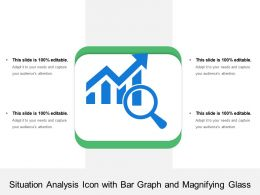 Situation Analysis Icon With Bar Graph And Magnifying Glass