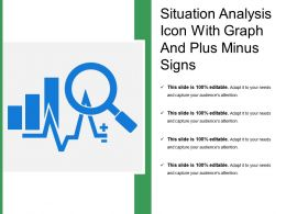 Situation Analysis Icon With Graph And Plus Minus Signs