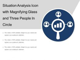 Situation Analysis Icon With Magnifying Glass And Three People In Circle