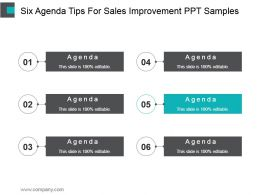 Six Agenda Tips For Sales Improvement Ppt Samples