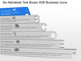 Six Alphabets Text Boxes With Business Icons Powerpoint Template Slide