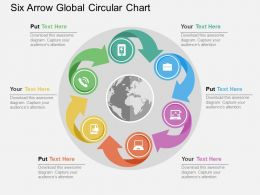 Six Arrow Global Circular Chart Flat Powerpoint Design