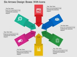 Six Arrows Design Boxes With Icons Flat Powerpoint Design