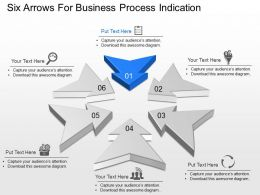 Six Arrows For Business Process Indication Powerpoint Template Slide