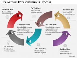 Six Arrows For Continuous Process Powerpoint Templates