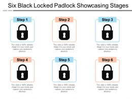 Six Black Locked Padlock Showcasing Stages