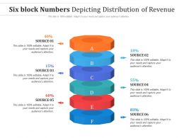 Six Block Numbers Depicting Distribution Of Revenue
