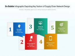 Six Bubble Infographic Depicting Key Factors Of Supply Chain Network Design