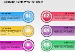 Six Bullet Points With Text Boxes Flat Powerpoint Design