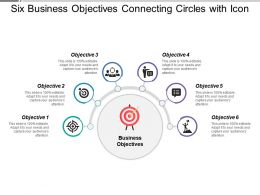 Six Business Objectives Connecting Circles With Icon