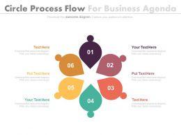 Six Circle Process Flow For Business Agenda Flat Powerpoint Design