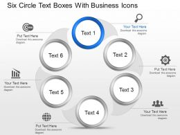 Six Circle Text Boxes With Business Icons Powerpoint Template Slide