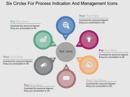 Six Circles For Process Indication And Management Icons Flat Powerpoint Design