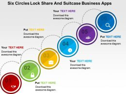 Six Circles Lock Share And Suitcase Business Apps Flat Powerpoint Design