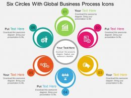 Six Circles With Global Business Process Icons Flat Powerpoint Design