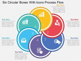 Six Circular Boxes With Icons Process Flow Flat Powerpoint Desgin
