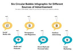 Six Circular Bubble Infographic For Different Sources Of Advertisement