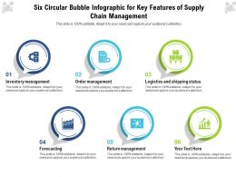 Six Circular Bubble Infographic For Key Features Of Supply Chain Management