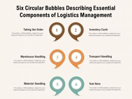 Six Circular Bubbles Describing Essential Components Of Logistics Management