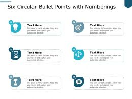 Six Circular Bullet Points With Numberings