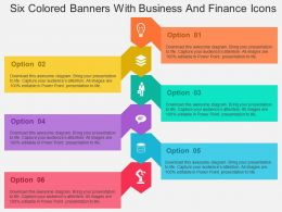 Six Colored Banners With Business And Finance Icons Flat Powerpoint Design