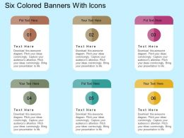Six Colored Banners With Icons Flat Powerpoint Design