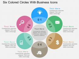 Six Colored Circles With Business Icons Flat Powerpoint Design