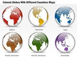 Six Colored Globes With Different Countries Maps Ppt Presentation Slides