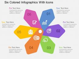 Six Colored Infographics With Icons Flat Powerpoint Design