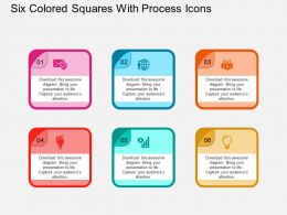 Six Colored Squares With Process Icons Flat Powerpoint Design