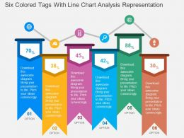 Six Colored Tags With Line Chart Analysis Representation Flat Powerpoint Design