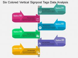 six_colored_vertical_signpost_tags_data_analysis_flat_powerpoint_design_Slide01