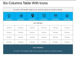 Six Columns Table With Icons
