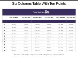 Six Columns Table With Ten Points