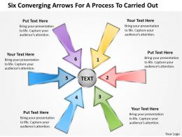 six coverging arrows for process to carried out Charts and PowerPoint Slides