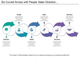 Six Curved Arrows With People Sales Direction And Global Icons