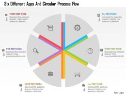 Six Different Apps And Circular Process Flow Flat Powerpoint Design