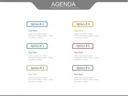 Six Different Business Agendas With Options Powerpoint Slides