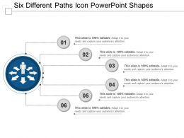 Six Different Paths Icon Powerpoint Shapes