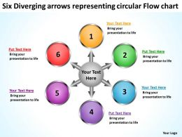 six diverging arrows representing circular flow chart PowerPoint Slides