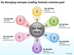 six diverging concepts leading towards common goal Arrows Network Software PowerPoint Slides