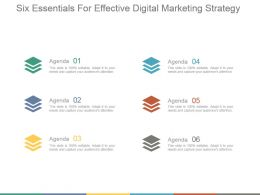 Six Essentials For Effective Digital Marketing Strategy Powerpoint Slides