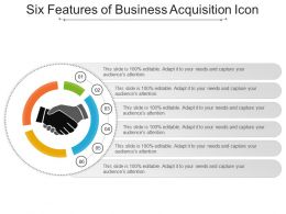 Six Features Of Business Acquisition Icon Ppt Slide Examples